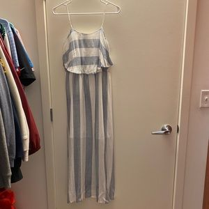 Pale blue and white stripe sun dress